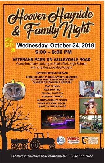 DATE CHANGE - WEDNESDAY, OCTOBER 24 - HOOVER HAYRIDE & FAMILY NIGHT